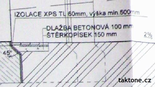 Okapový chodník detail